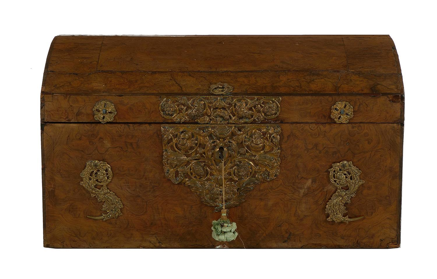 Dutch brass-mounted burl-wood trunk
