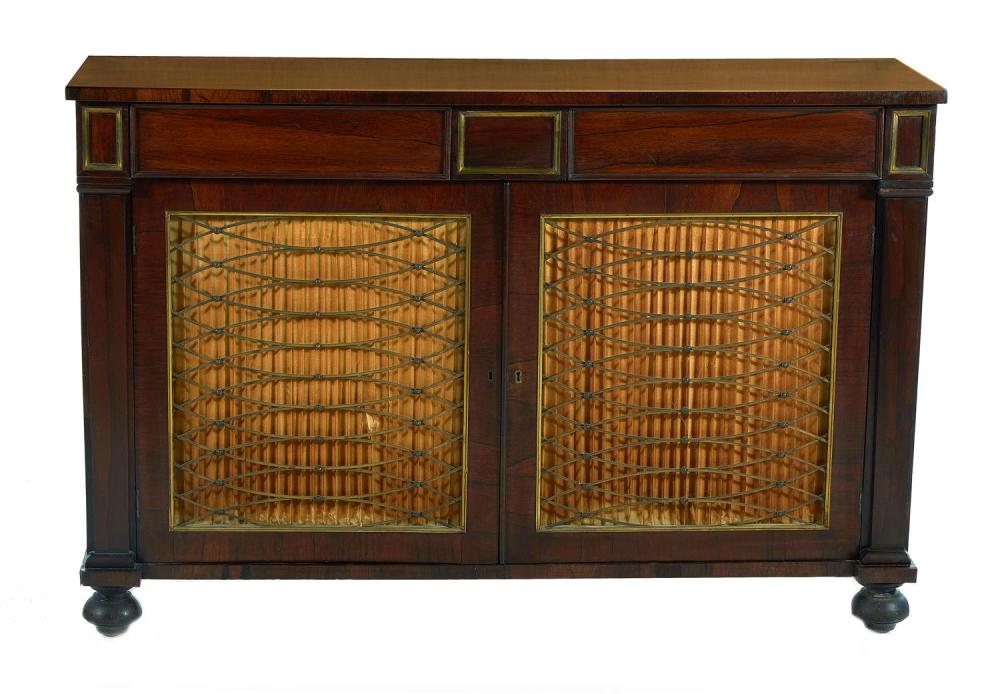 Regency brass-mounted rosewood chiffonier