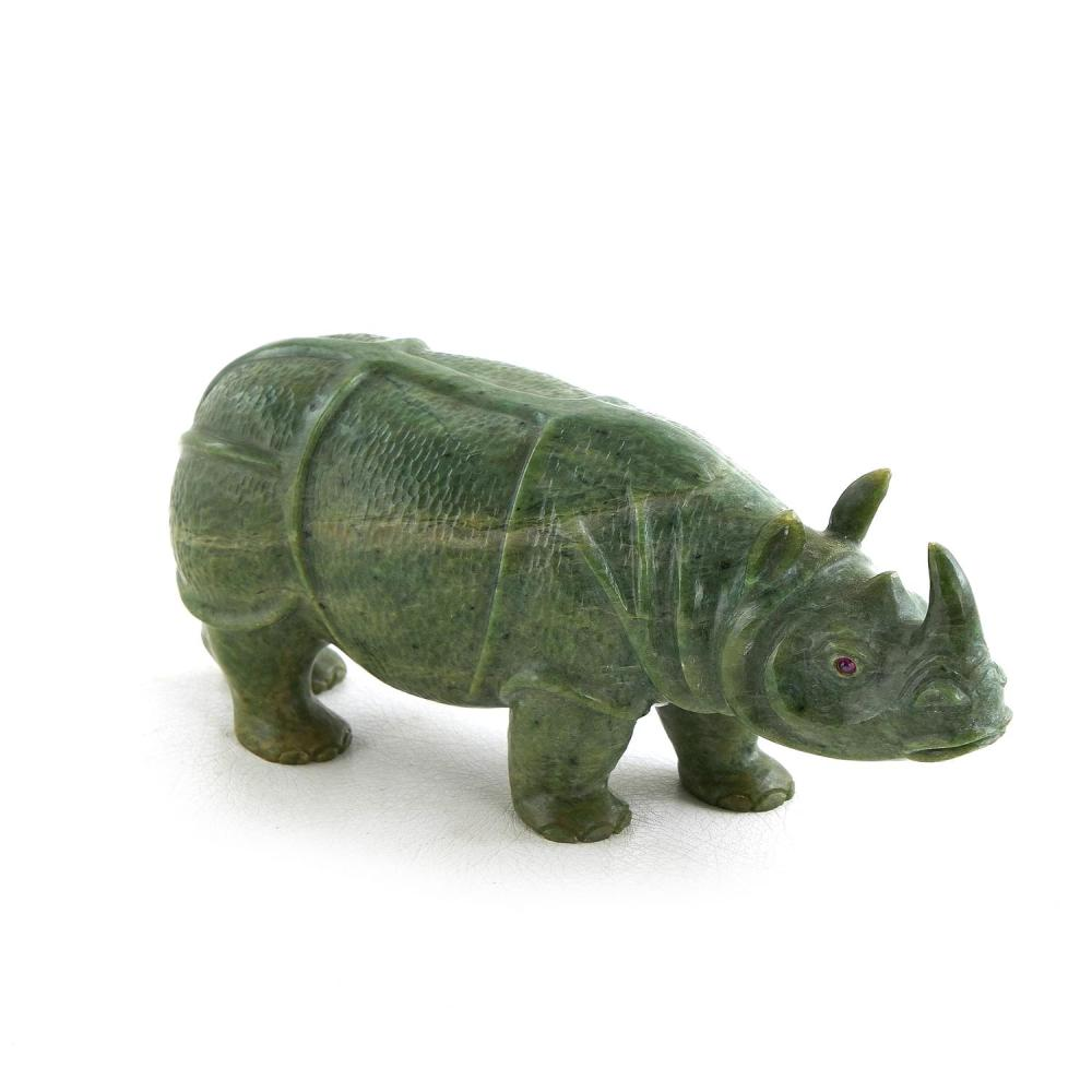 Georg O. Wild carved jade rhinoceros