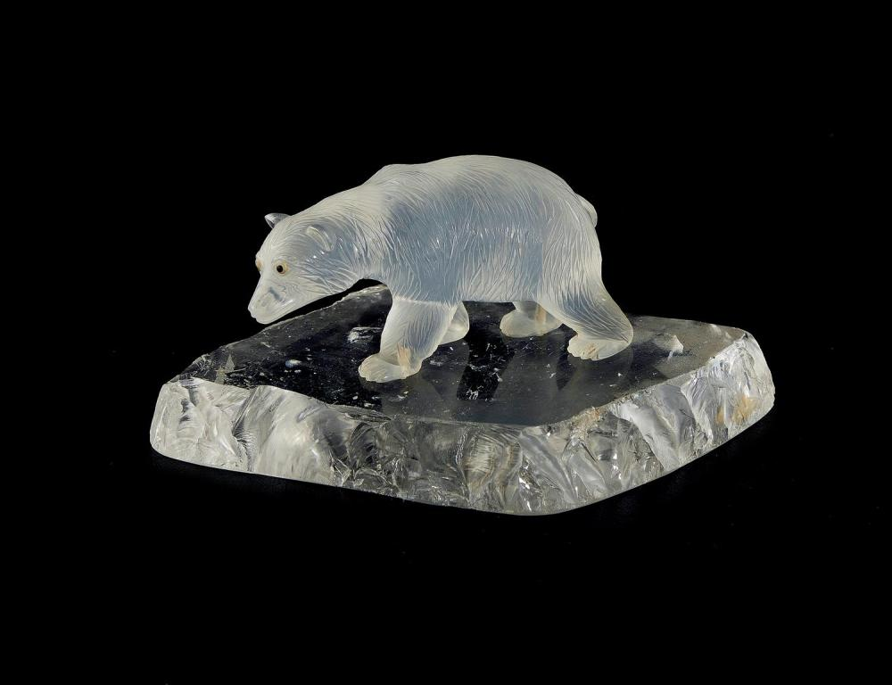 Georg O. Wild carved moonstone and rock-crystal polar bear