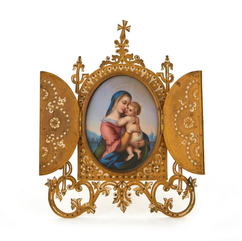 Renaissance Revival enameled-metal and porcelain devotional