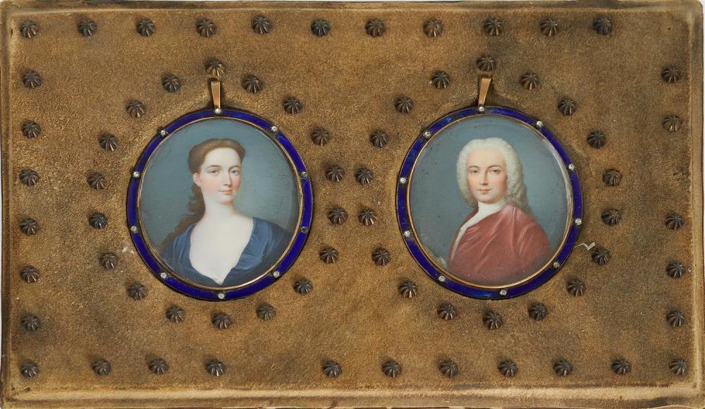 Pair English portrait miniatures, 18th century