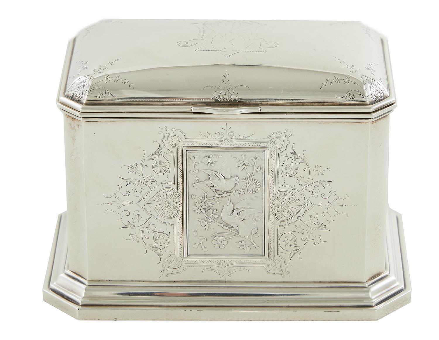 Starr & Marcus sterling silver tea caddy