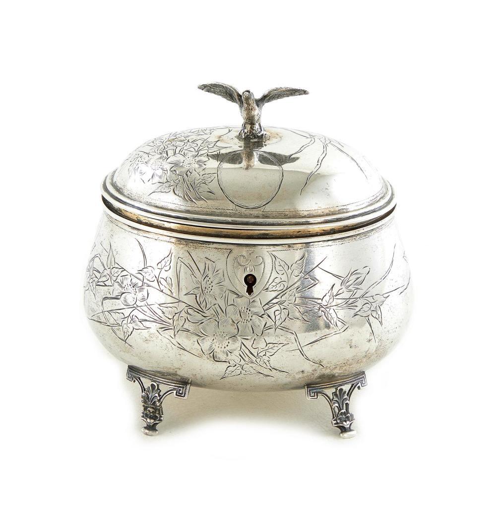 Austro-Hungarian silver sugar box or tea caddy