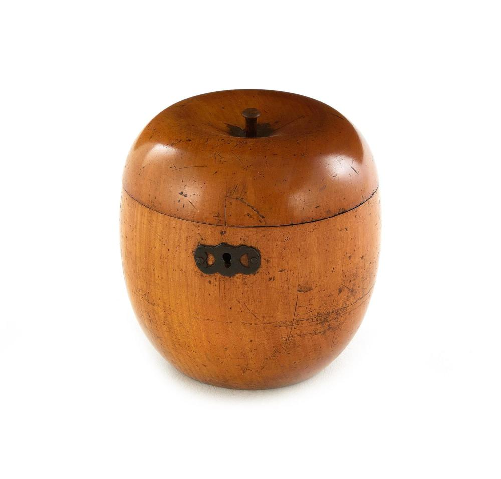 Fine George III fruitwood apple-form tea caddy