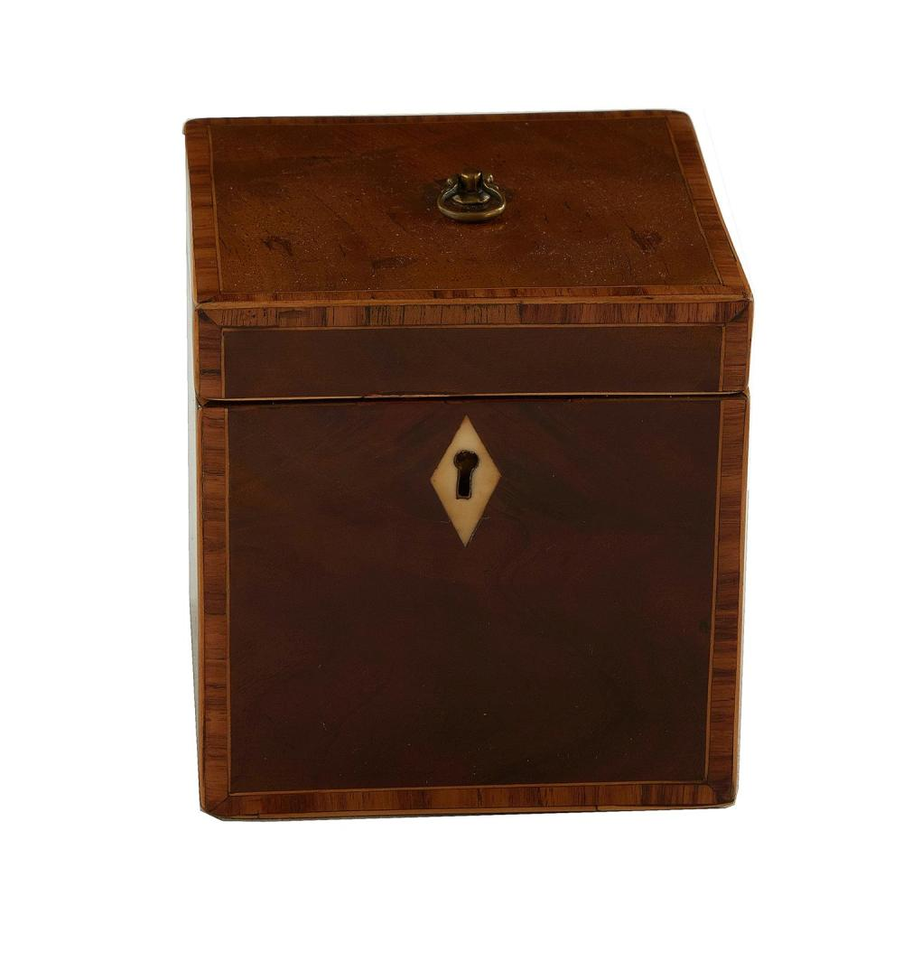 George III inlaid mahogany single-well tea caddy