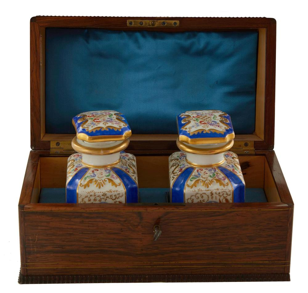 Continental brass and ivory-inlaid rosewood perfume box