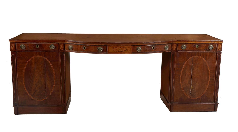 *Regency inlaid mahogany pedestal sideboard