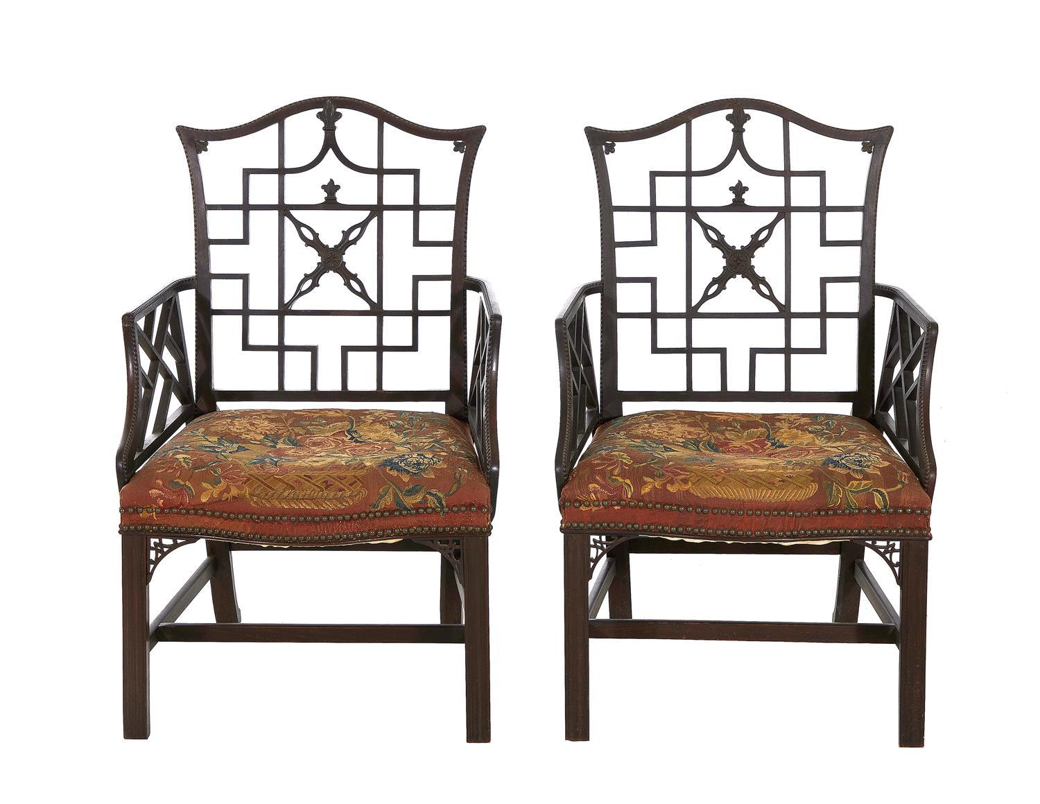 *Fine pair George II carved mahogany armchairs covered in Soho tapestry (2pcs)