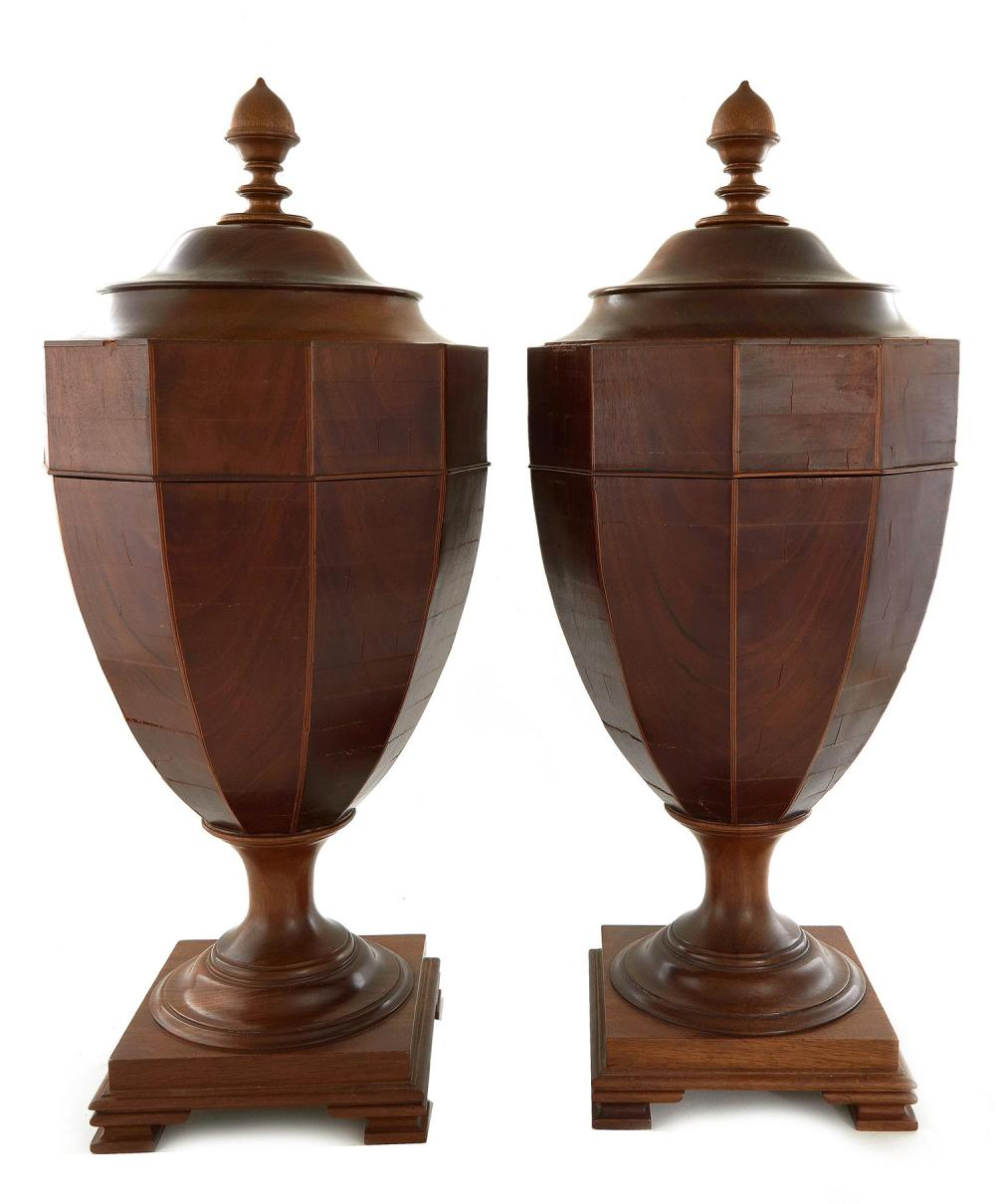 Pair Georgian style knife urns on pedestal cabinets (4pcs)
