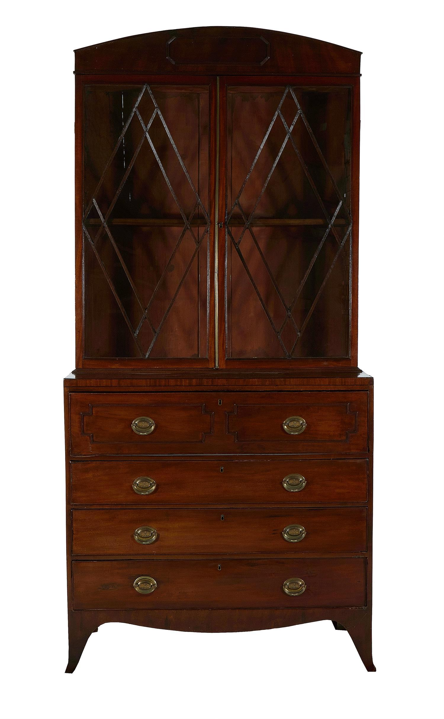 Regency mahogany secretary bookcase