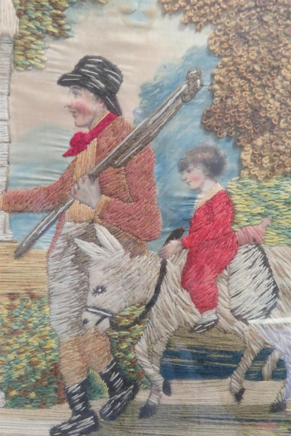 *Near pair George III pictorial needleworks (2pcs)