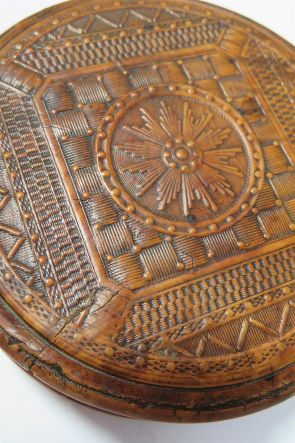 Continental finely-carved burl box