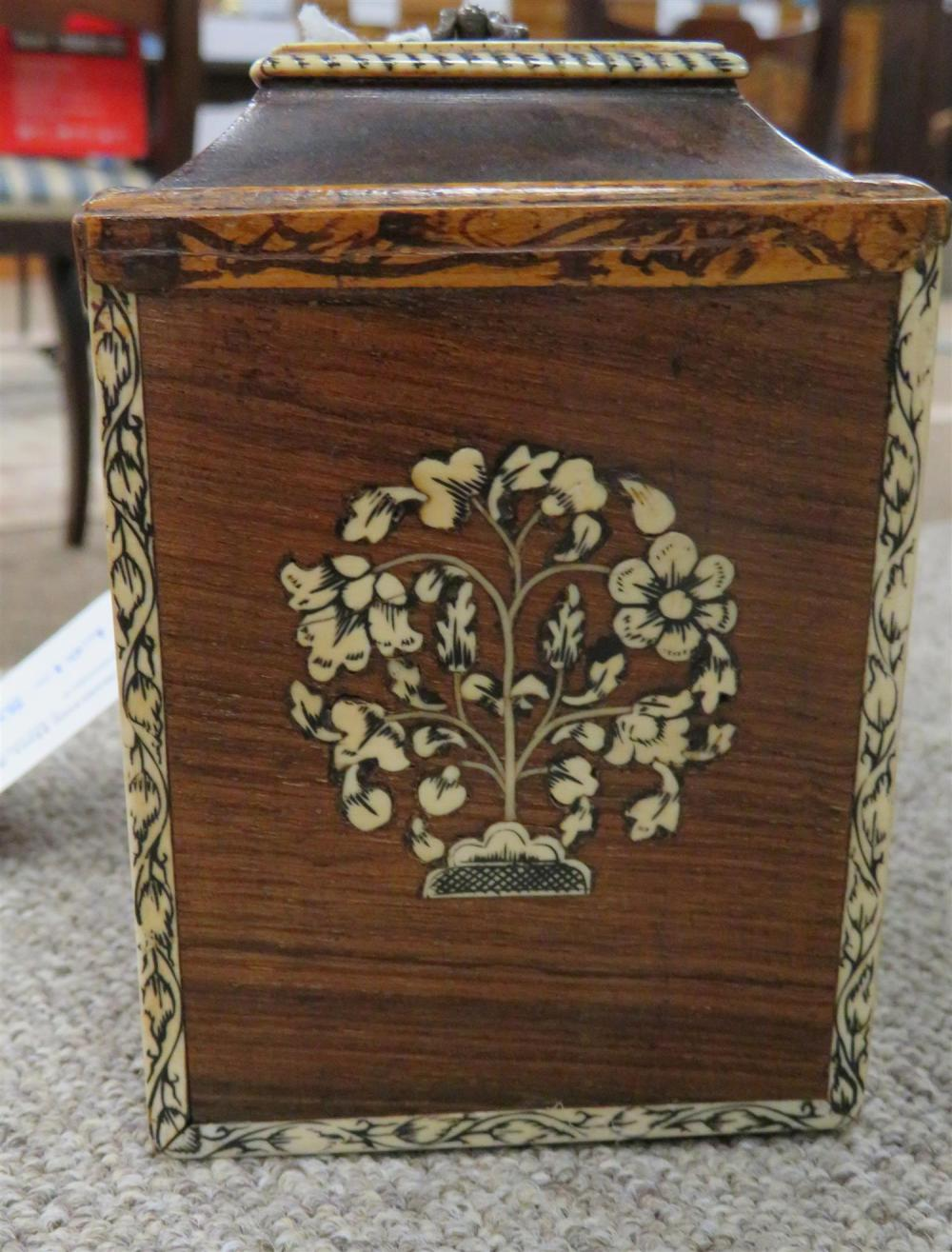 Vizagapatam Anglo-Indian ivory-inlaid rosewood tea canister