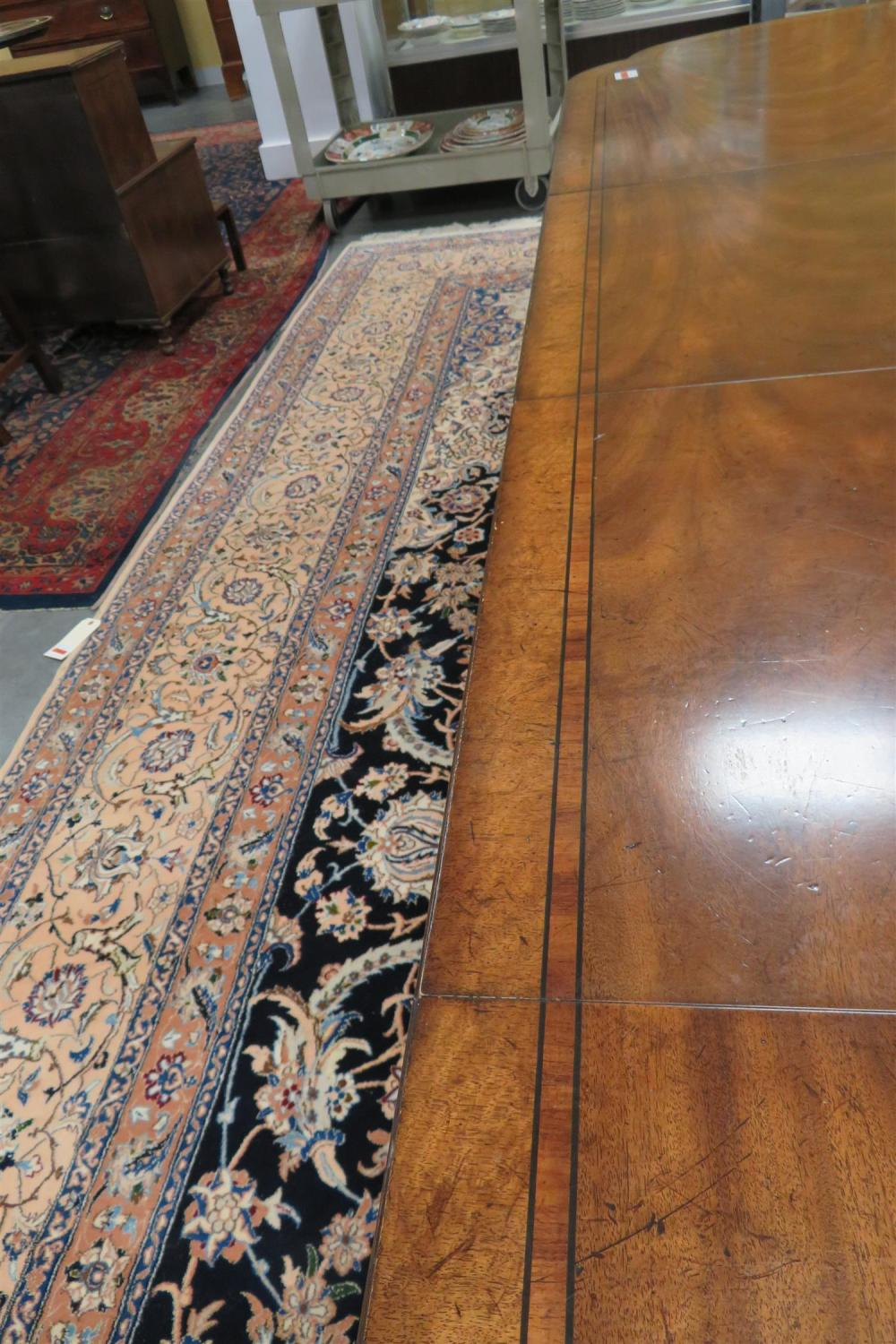 EJ Victor inlaid mahogany pedestal dining table