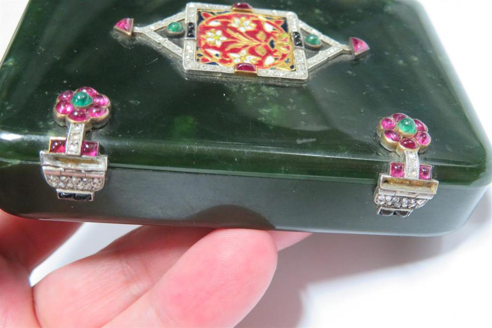 Cartier jade diamond and gemstone box