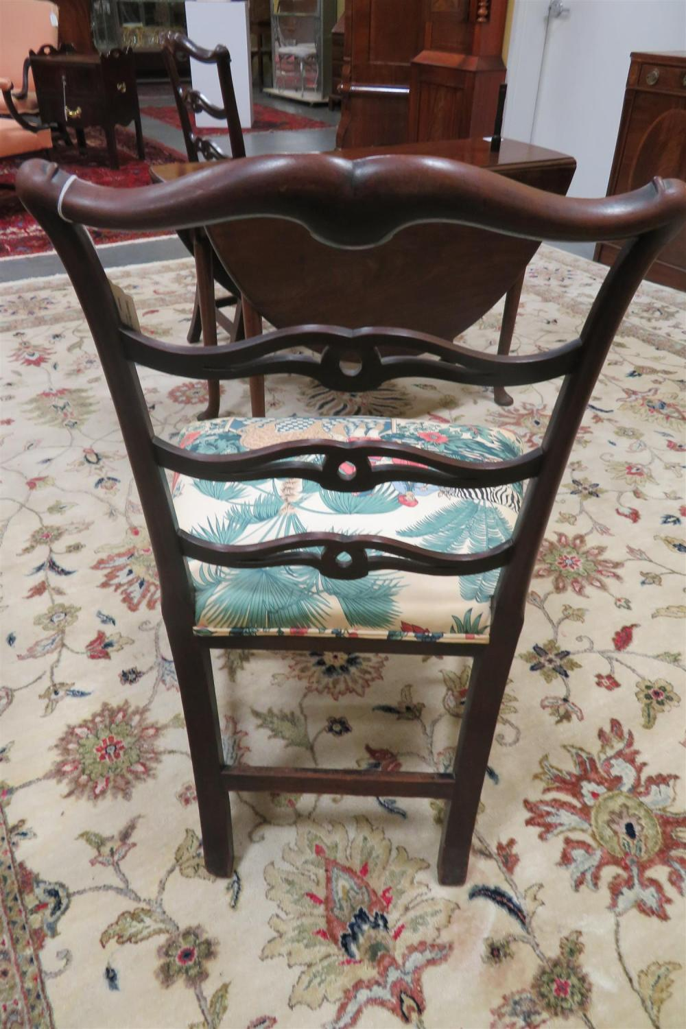 *Pair Chippendale ladder back side chairs (2pcs)