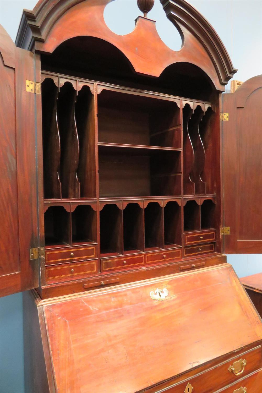 Fine Queen Anne style walnut bureau bookcase
