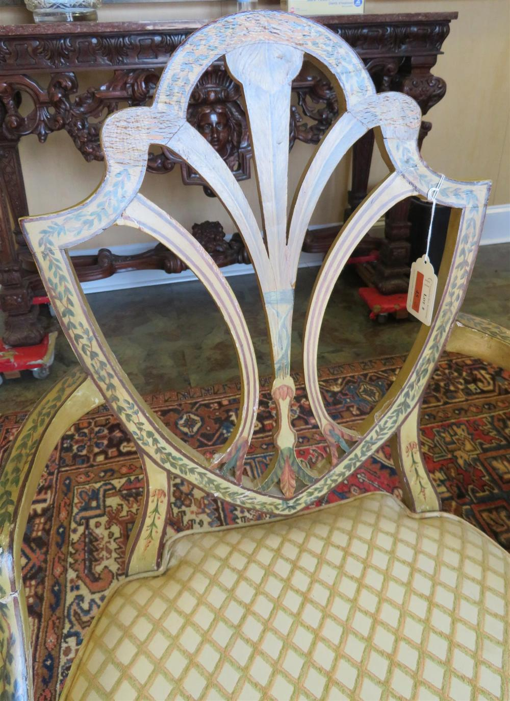 *Pair Sheraton paint-decorated armchairs (2pcs)