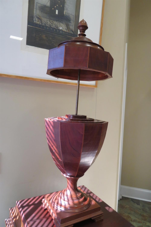 *Pair Georgian style knife urns on pedestal cabinets (4pcs)