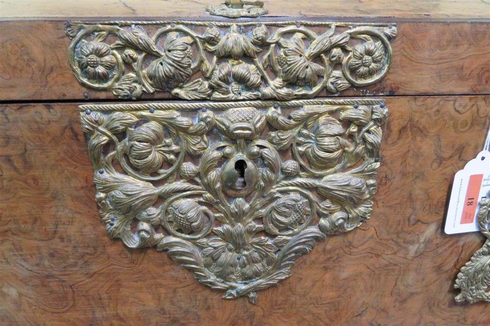 *Dutch brass-mounted burl-wood trunk