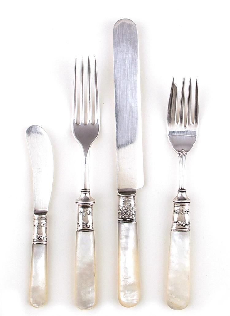 American sterling and nacre flatware service (51pcs)
