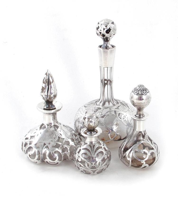 Silver-overlay scent bottles (4pcs)