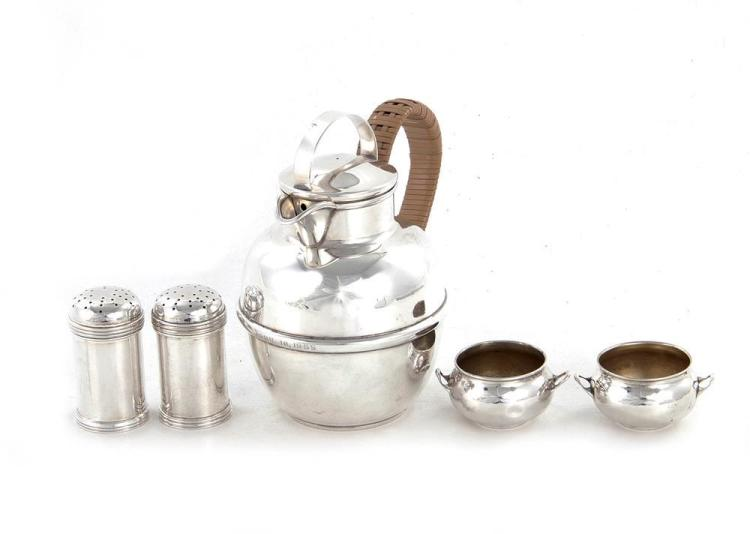 American sterling teapot, pair shakers, and pair salts (5pcs)