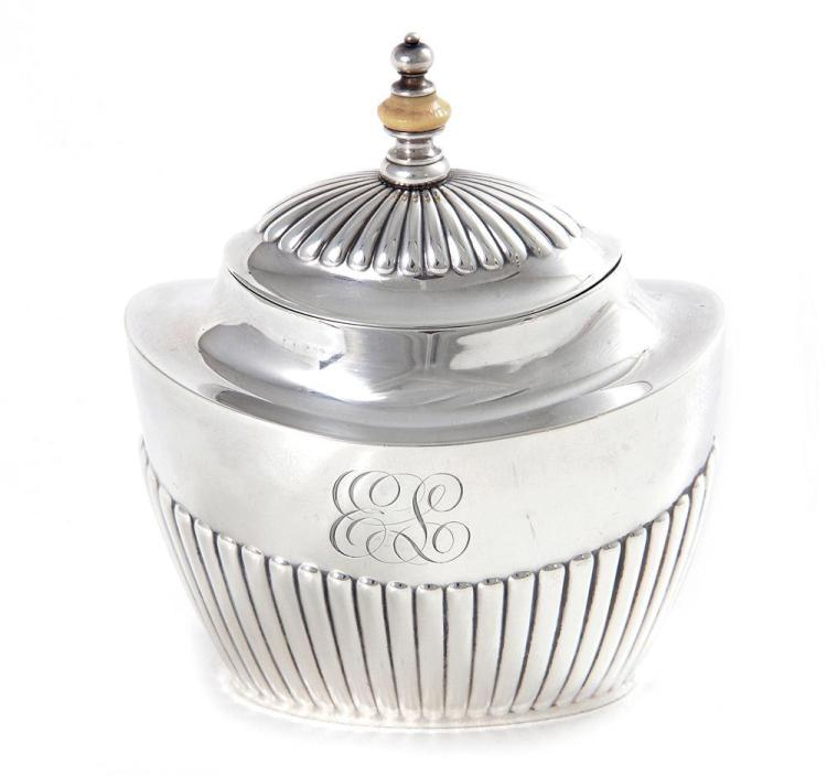 Gorham sterling tea caddy, for J.E. Caldwell & Co