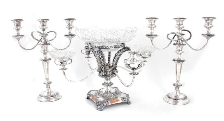 English silverplate epergne, and pair candelabra (3pcs)