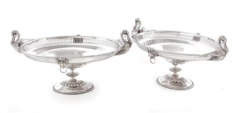 Pair English silverplate tazzas
