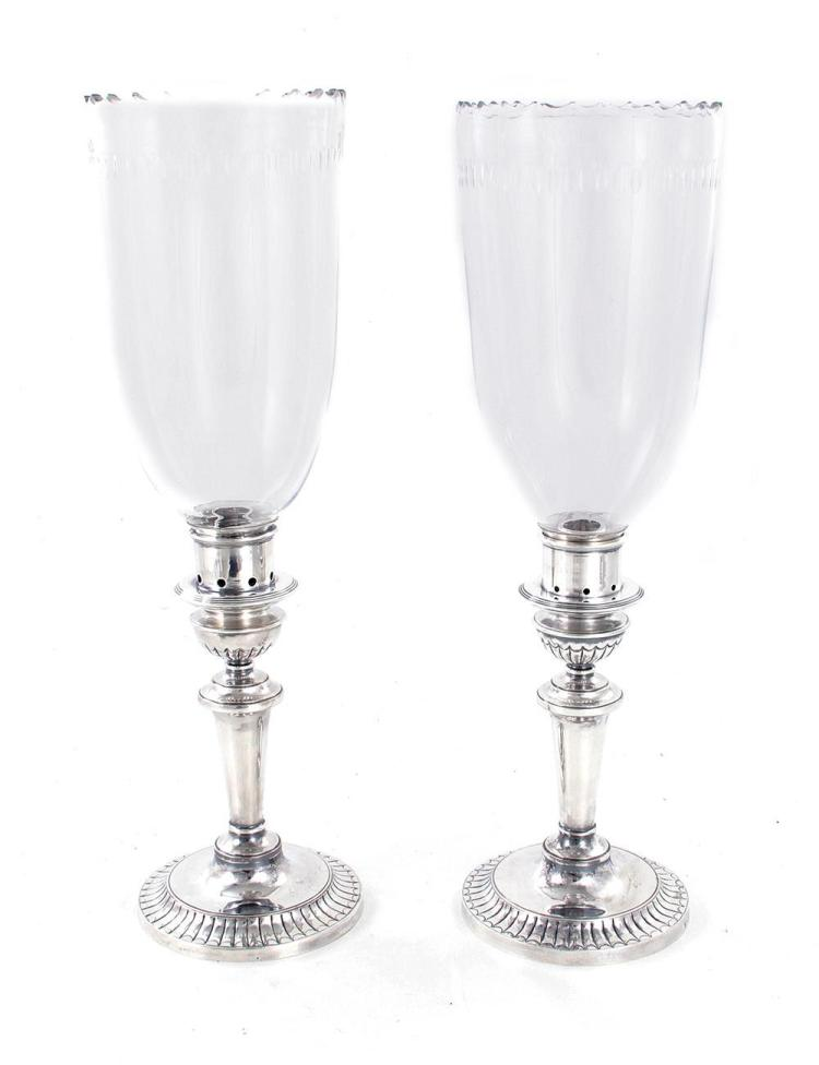 Pair English silverplate candlesticks with hurricane shades (2pcs)