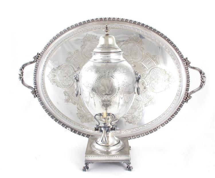 English silverplate hot water urn, and waiter (2pcs)