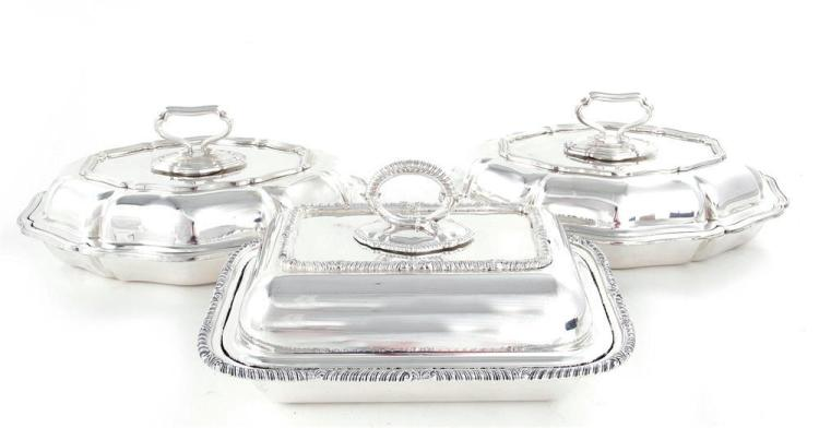 English silverplate covered entree dishes (3pcs)
