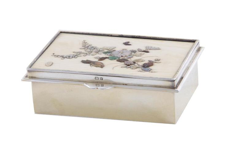 English sterling and inlaid box, Comyns & Sons