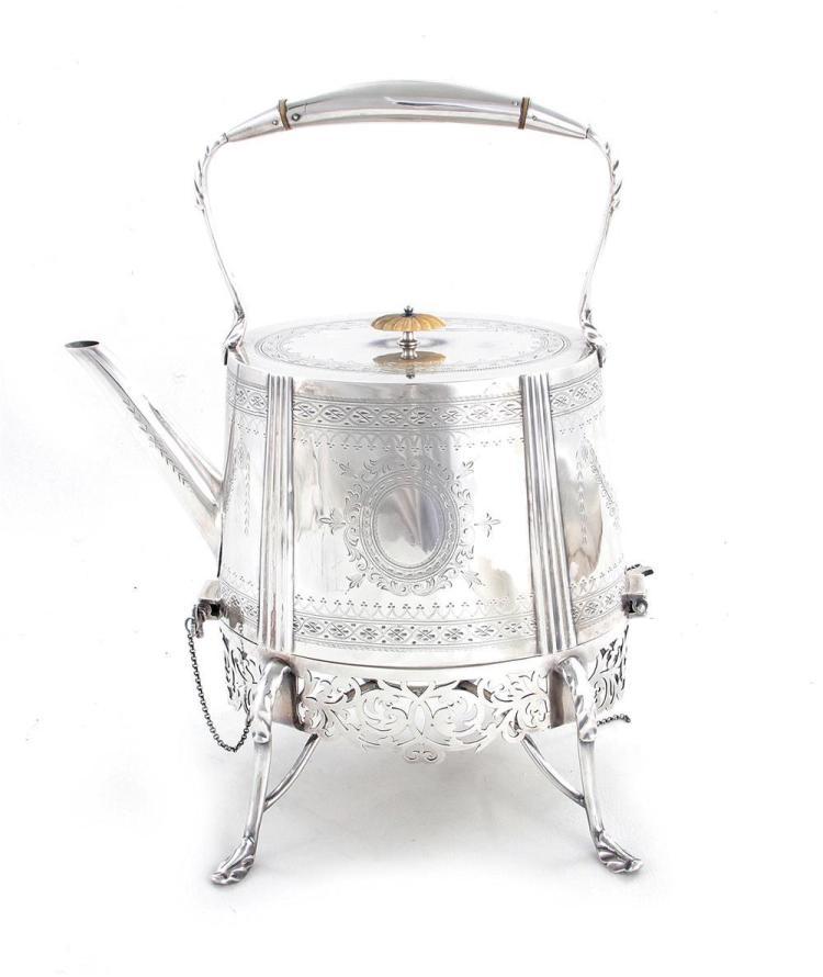 Victorian silverplate kettle on stand, W.S. Burton