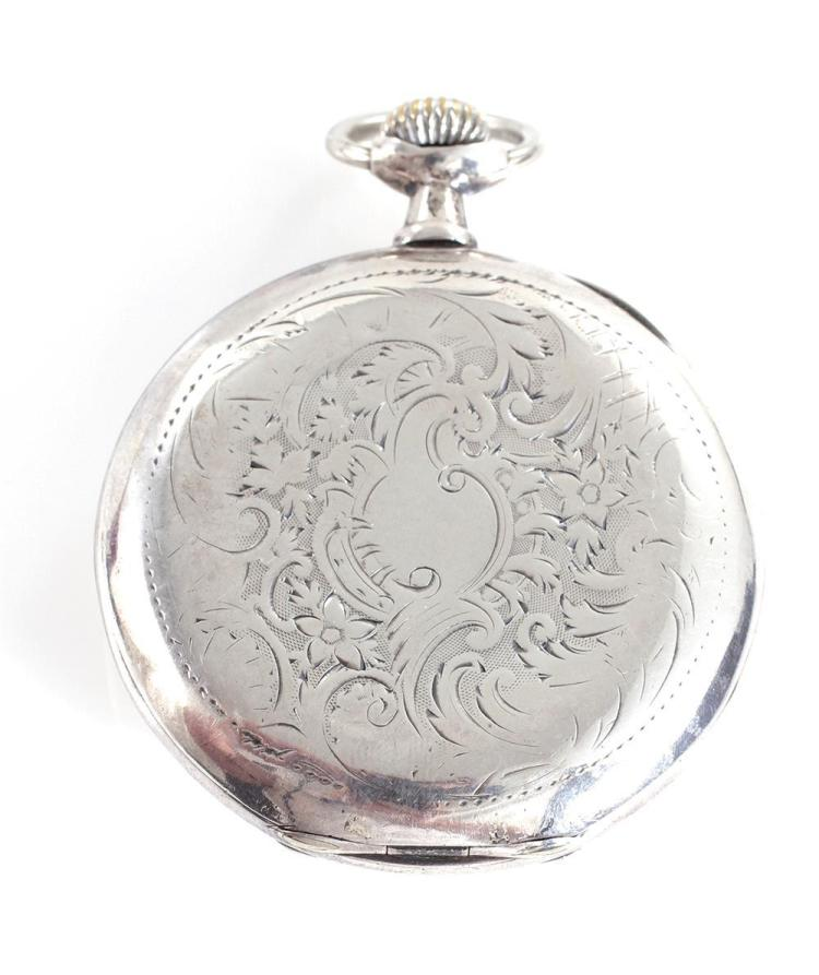 Omega silver-cased openface pocket watch