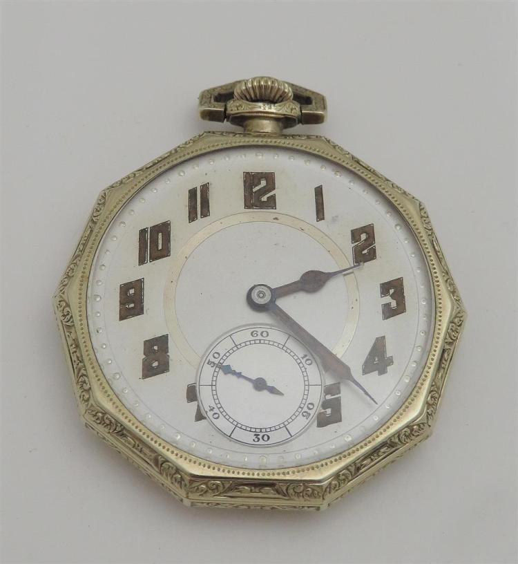 Gold open-face pocket watch