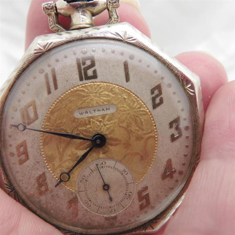 Waltham gold open-face pocket watch