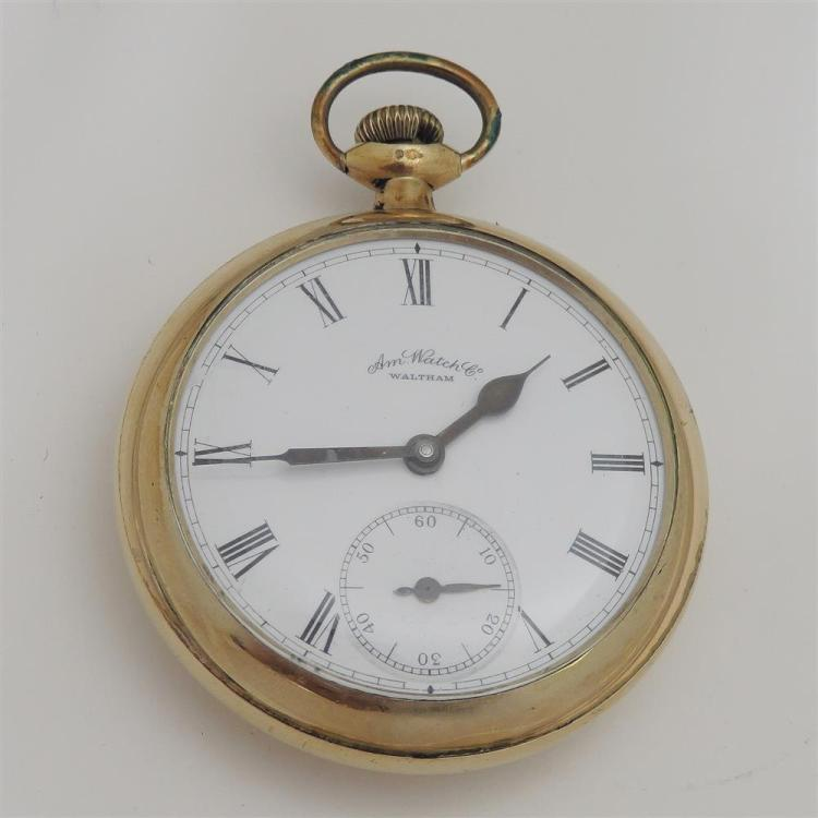 Waltham gold case open-face pocket watch