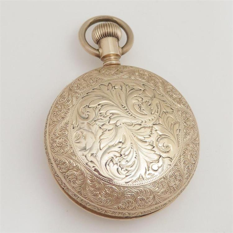 Addison gold open-face pocket watch