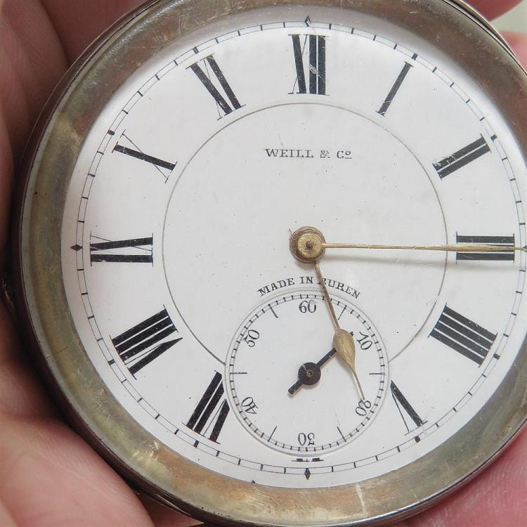 Swiss Weill & Co silver case pocket watch, and Swiss watch (2pcs)