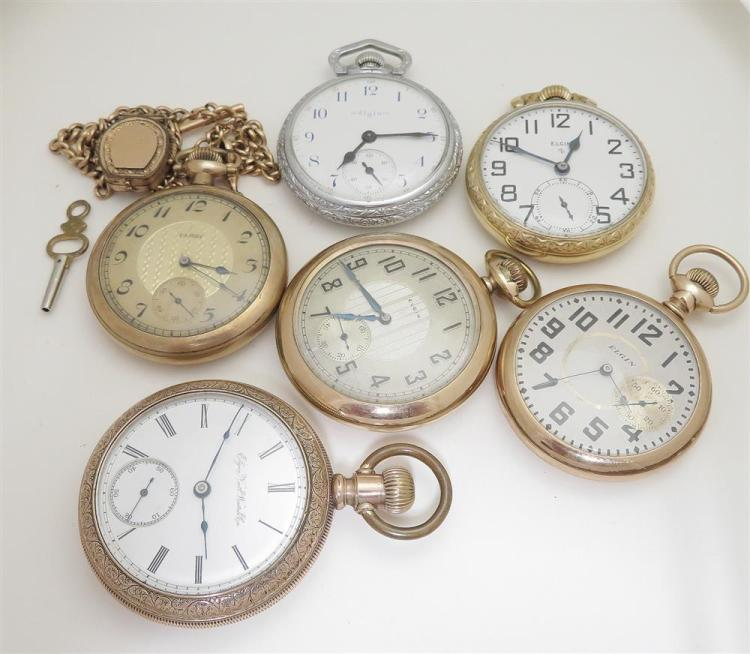 Antique Elgin open-face pocket watches (6pcs)