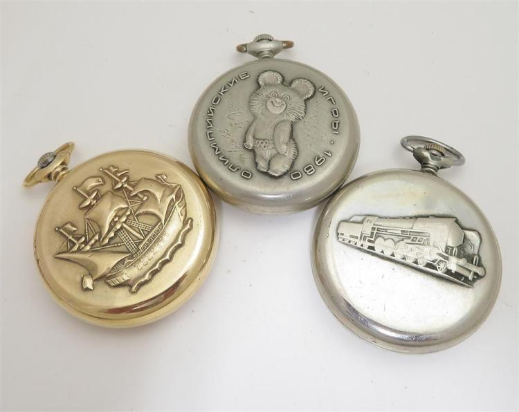 Russian open-face pocket watches, Molnija (3pcs)