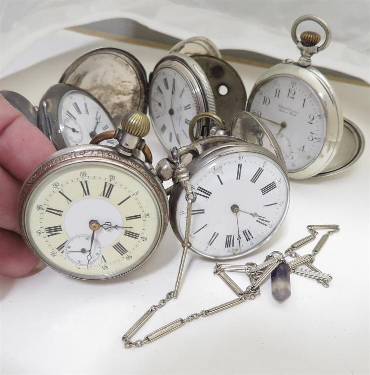 European silver-case pocket watches (6pcs)