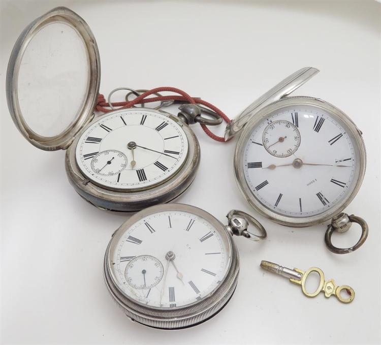 English sterling hunter-case pocket watches (3pcs)