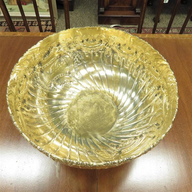 Massive English gilded silverplate punch bowl, Israel Freeman & Son