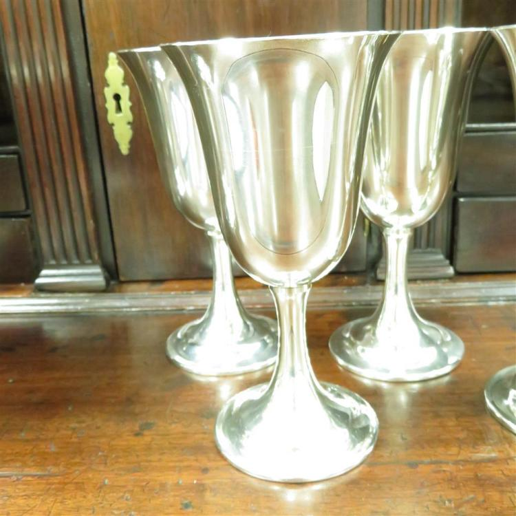 American sterling water pitcher, and goblets (5pcs)