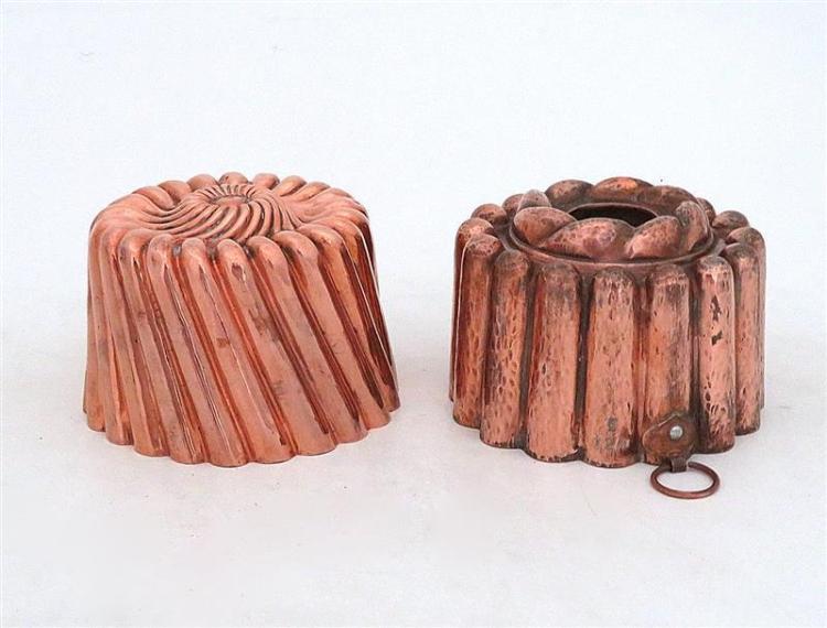 Antique tin-lined copper moulds (2pcs)