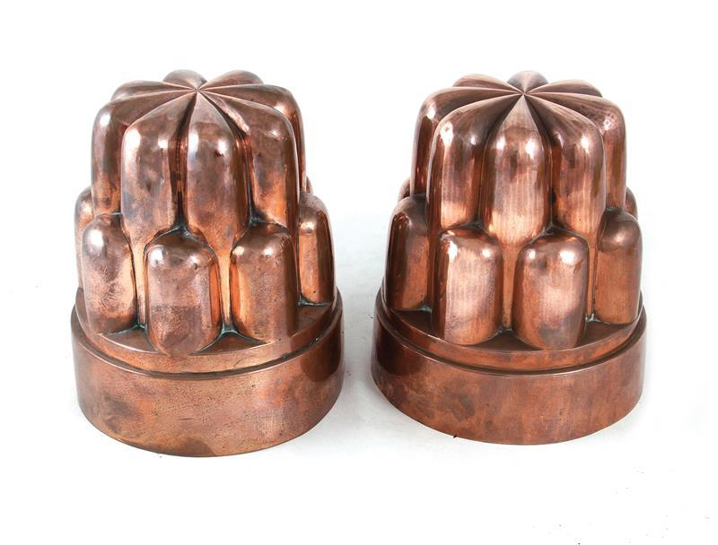Rare pair antique tin-lined copper moulds (2pcs)